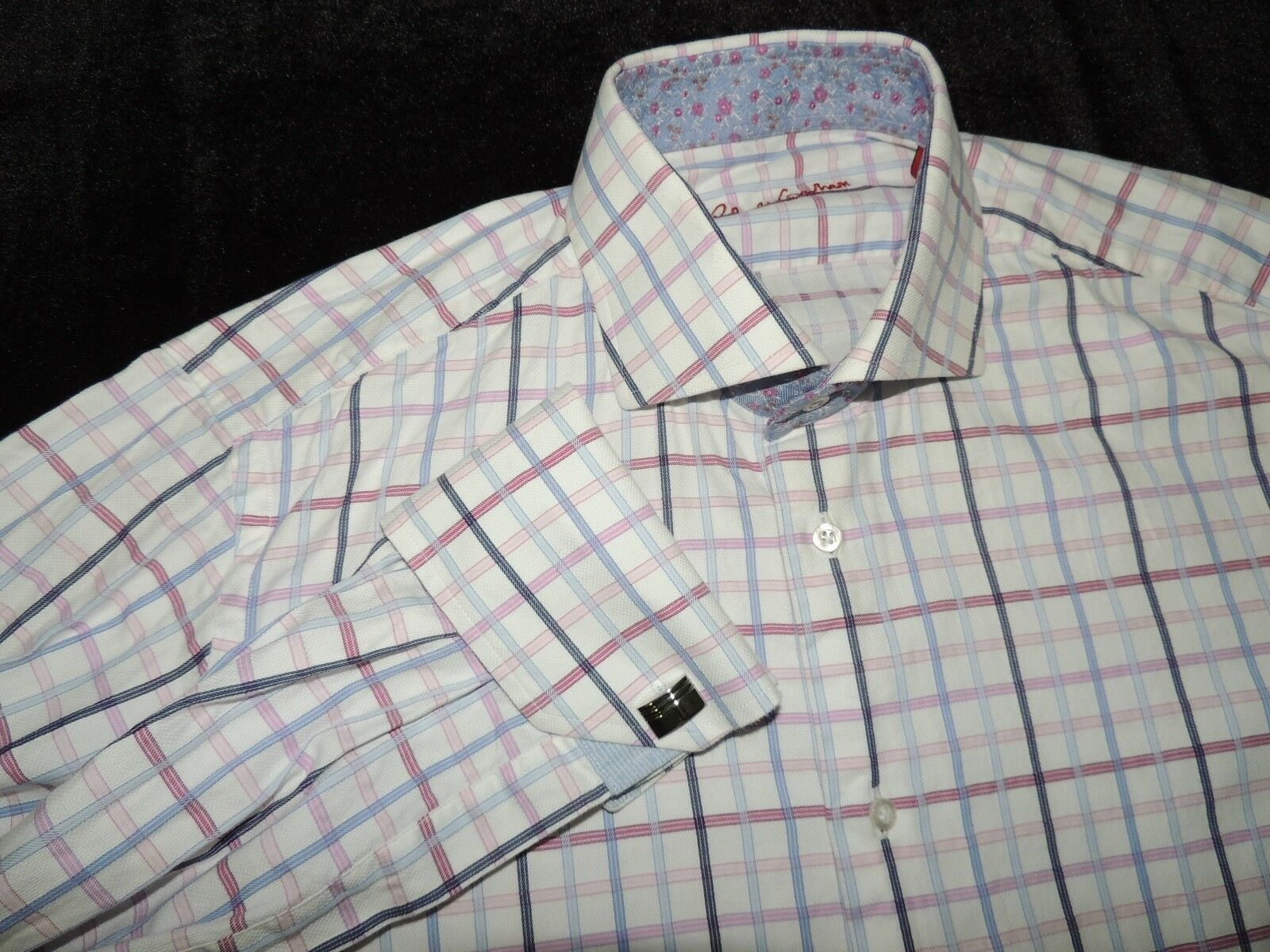 Robert Graham 100% baumwolle French Cuff wide verbreitung hemd Größe 16.5 - 42
