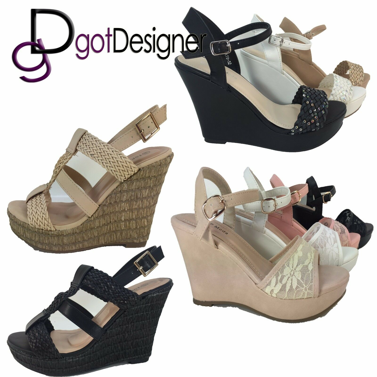 Women's Fashion High Heel Cork Wedge Cork Heel Sandal Platform Open Toe Strappy New Pumps c8833c