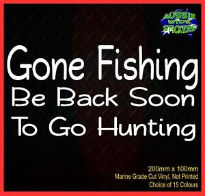 Aussie-BNS-4x4-Ute-Funny-Car-Stickers-GONE-FISHING-GOING-HUNTING-200mm