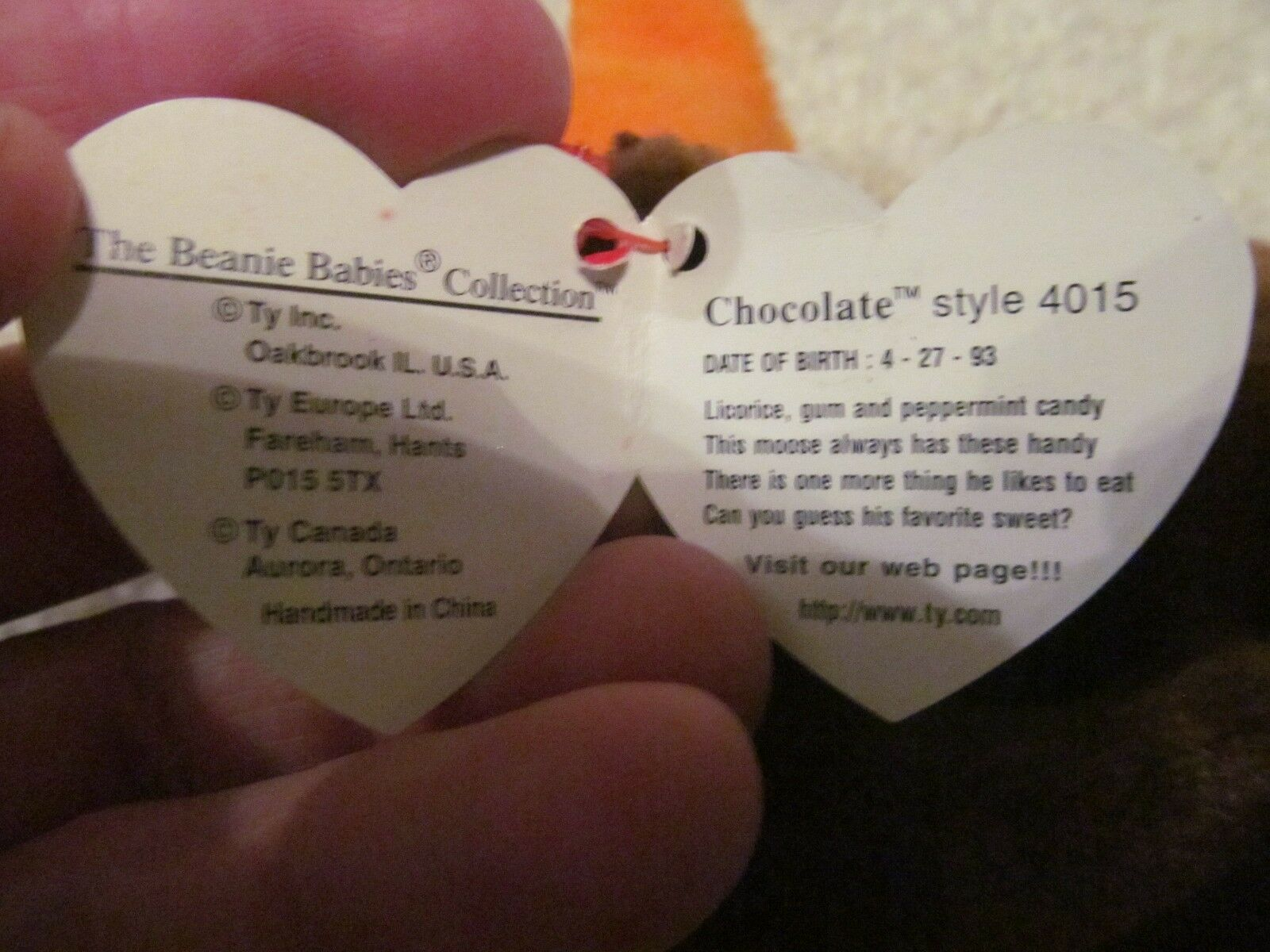 TY BEANIE BABIES - CHOCOLATE CHOCOLATE CHOCOLATE -RETIRED-WITH TAG ERRORS-GREAT CONDITION ee2a58