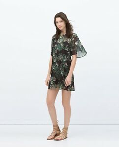 Zara-Woman-Sheer-Black-Green-amp-Pink-Sixties-Flutter-Babydoll-Dress-10