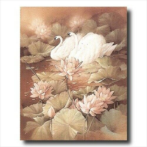 Swans Pond Flower Exotic Bird Wall Picture Art Print