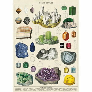 Mineralogy French Scientific Chart Vintage Style Poster Ephemera