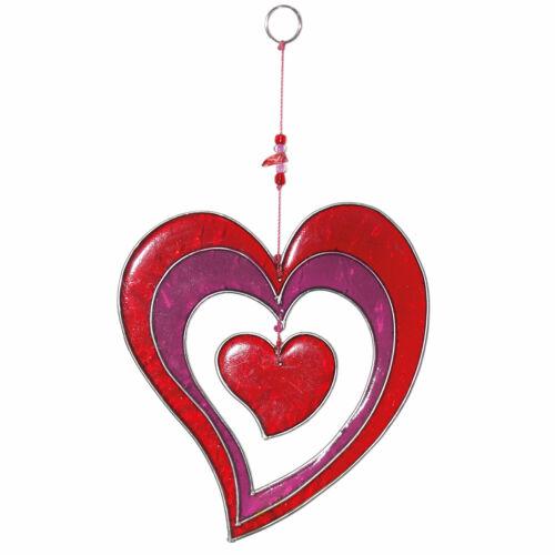 Fensterdeko Herz rot violettWanddeko FensterschmuckGeschenk für Mama