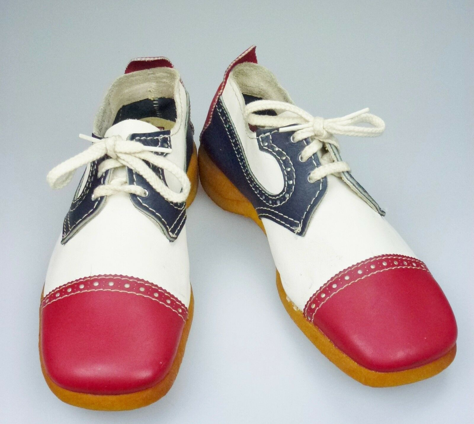 8.5M Road Runners Leather chaussures rouge blanc bleu Lace Up Costume Retro