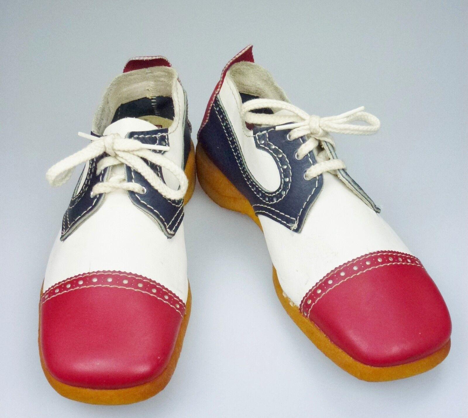 8.5M Road Runners Leder Schuhe ROT Costume Weiß Blau Lace Up Costume ROT Retro 02974d