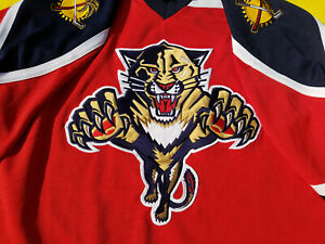 Red-Florida-Panthers-Jersey-Mens-Large-Pro-Player-L-NHL-proplayer-red-jersey