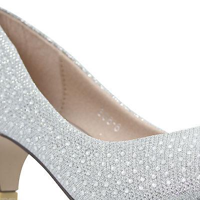 Señoras Mediados de fiesta Baile de Graduación Dama De Honor Boda Nupcial para Mujer Talle Tribunal Zapatos Tacones