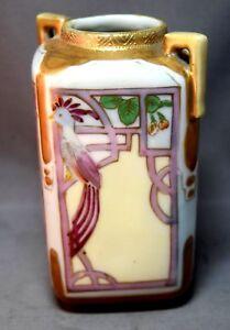 Art-Deco-Studio-Handpainted-Nippon-Vase-w-Bird-and-Art-Nouveau-Flowering-Plants