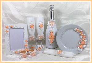 Sekt Hochzeitsgläser  Geschenkidee Geschenk pfirsich