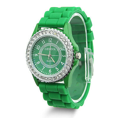 Fashion Women Bling Crystal Rhinestone Bezel Geneva Silicone Rubber Jelly Watch