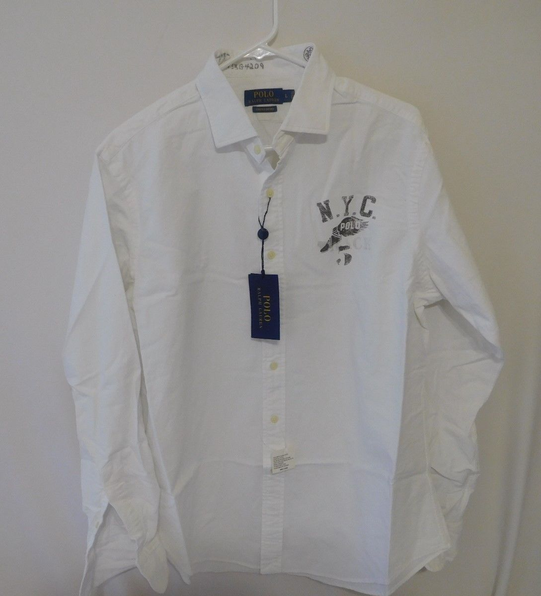 Ralph Lauren Men Weiß Cotton Oxford Graphic Shirt -  Large L NEW
