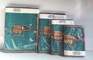 Reciclado-Papel-Diarios-Juego-de-4-Cuaderno-Diario-Diario-Elefante-sanscrito