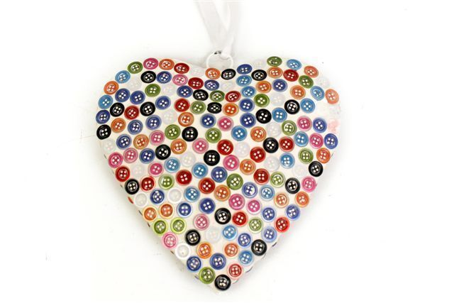 Hanging Button Heart Home Shabby Chic Decoration.