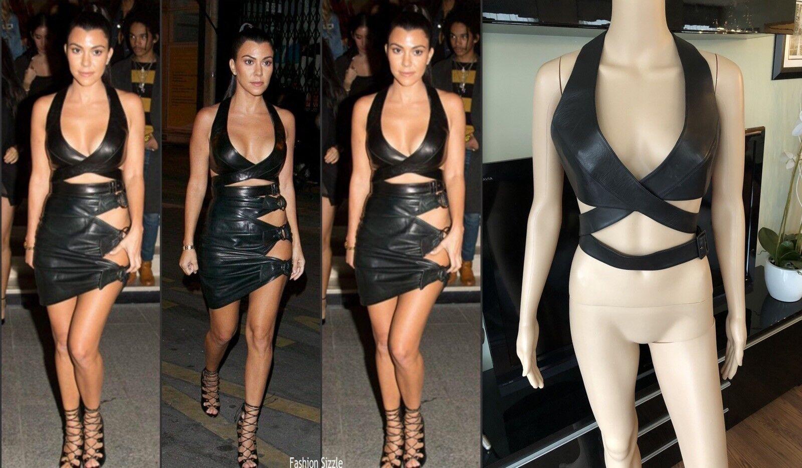 Azzedine Alaia Wrap Leather Cutout Black Top - image 1