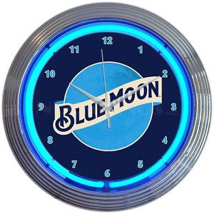 "Blue moon  Neon Clock sign bar Man cave wall lamp 15"" quartz clock Orange beer"