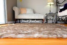 60 x 58 Brown Tip Polar Bear Mink Furs Area Rug Rectangle Lodge Cabin