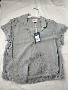 Women-s-Wrap-Front-Short-Sleeve-Top-Medium-Universal-Thread-Gray-Stripes