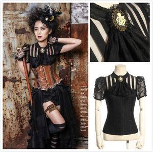 RQ-BL-SP087-Steampunk-Gothic-Black-Blouse-Shirt-victorian-Octopus-Brosche-Jabot