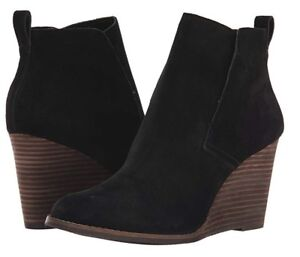 19339687ad53 NEW- LUCKY BRAND Yoniana Black Leather Suede Wedge Bootie Boots Size ...