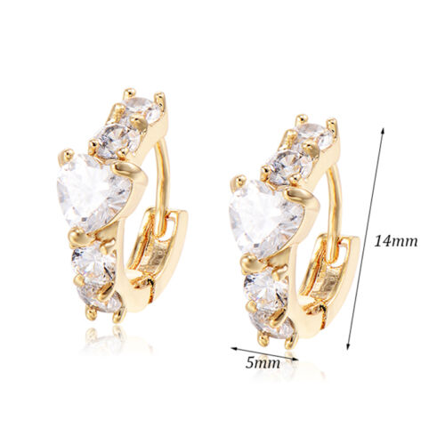 Heart Earings Girls Childrens Safety Cute crusyal  Hoop earrings 14K Gold Filled