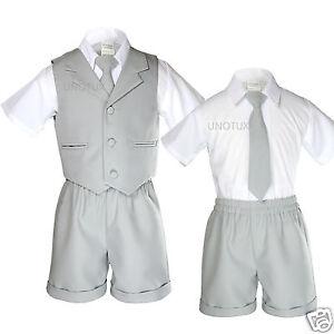 1bb11d4d229c New Gray Infant Boy   Toddler Formal Vest Shorts Suit Outfits S M L ...
