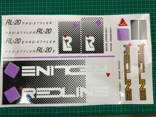old school bmx decals stickers 1984-85 redline rl20ii rl20 hazard whte lavender