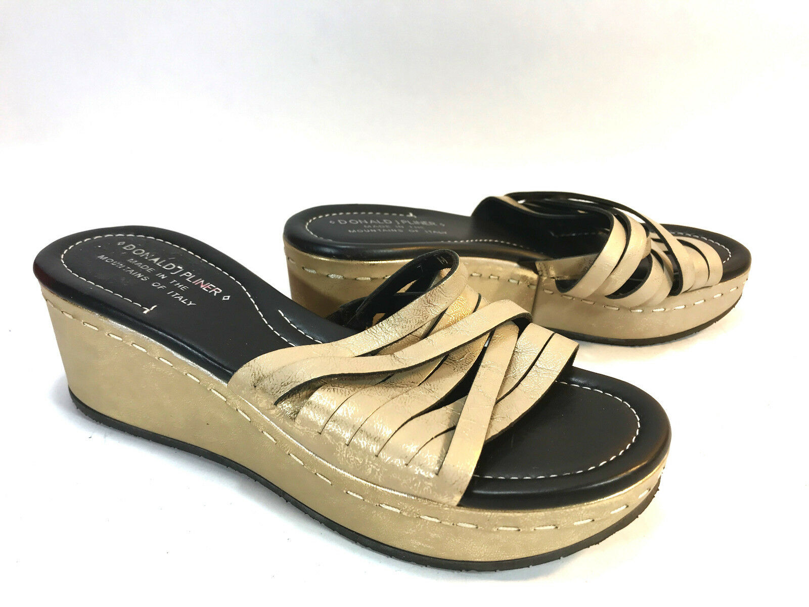 DONALD PLINER Italian champagne beige metallic wedge wedge wedge strappy platform sandals 7 473735