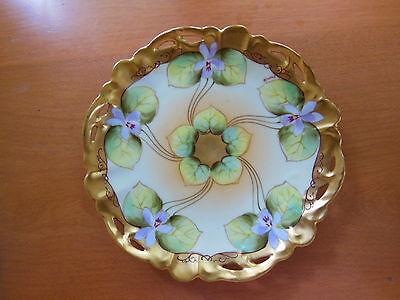 Antique Pickard China Plate Violets & Gilt Hand Painted Signed Kriesch Kriesche