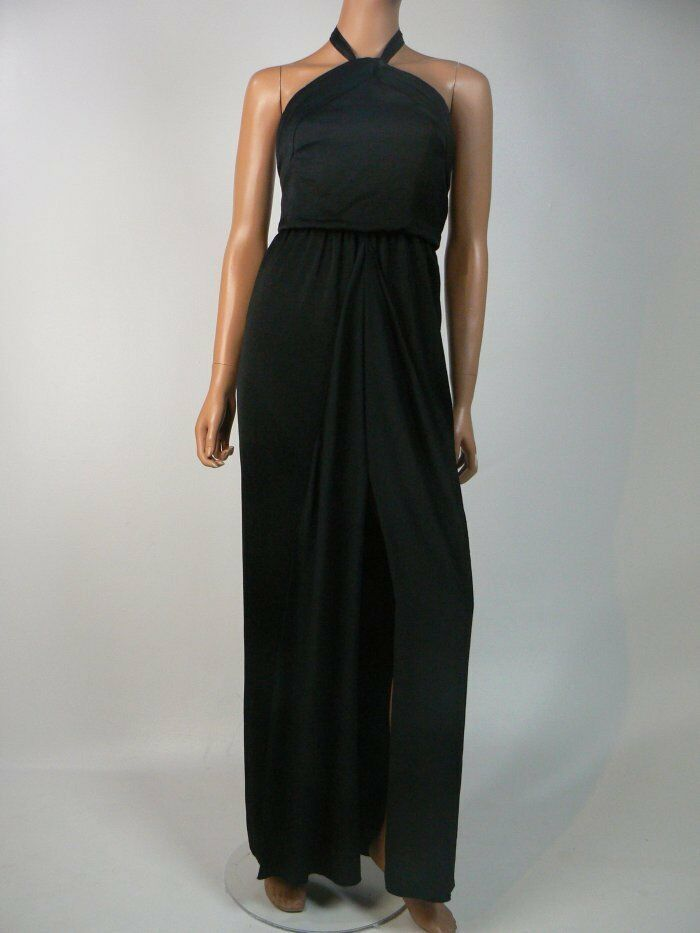 BCBG MaxAzria schwarz Satin Pleated Bodice Split Skirt Gown 0 NEW B388