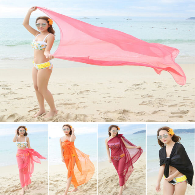 666c08f673 Charm Women Chiffon Wrap Dress Sarong Pareo Beach Bikini Swimwear Cover Up  Scarf