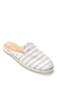 Saks Fifth Avenue Womens Metallic Striped Mules Espadrilles Silver Size 40 10
