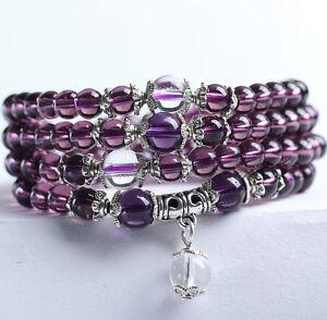 New-6mm-Amethyst-Mala-Bracelet-Necklace-Buddhist-meditation-108-Prayer-Beads