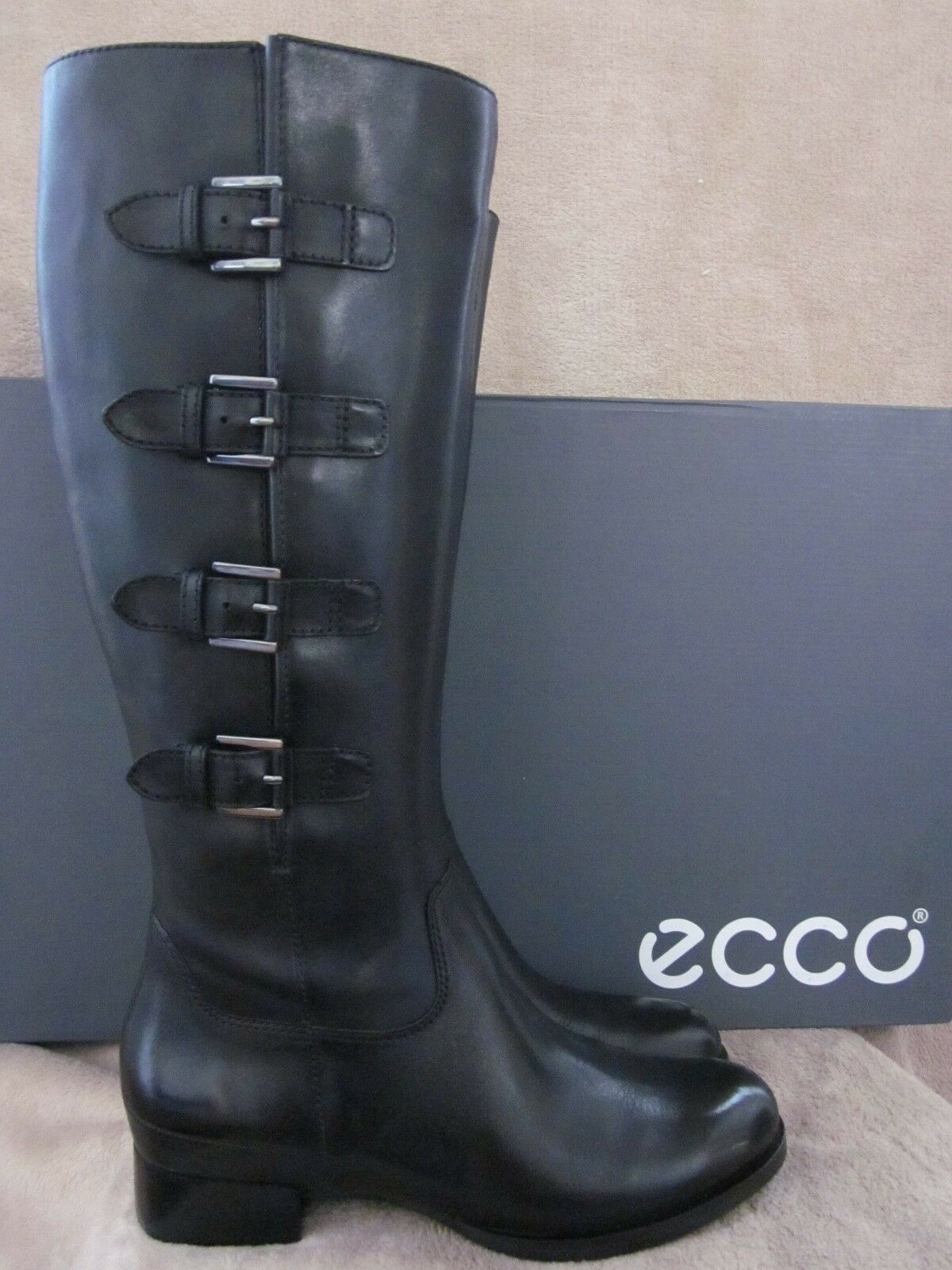 ECCO Sullivan Black High Cut Leather Buckle Boots shoes US 9 - 9.5 M EUR 40 NWB