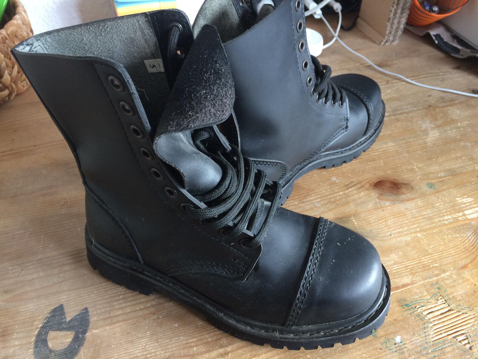 UK 10-Loch Boots Springerstiefel Stahlkappe schwarz Metal Gothic Punk Leder