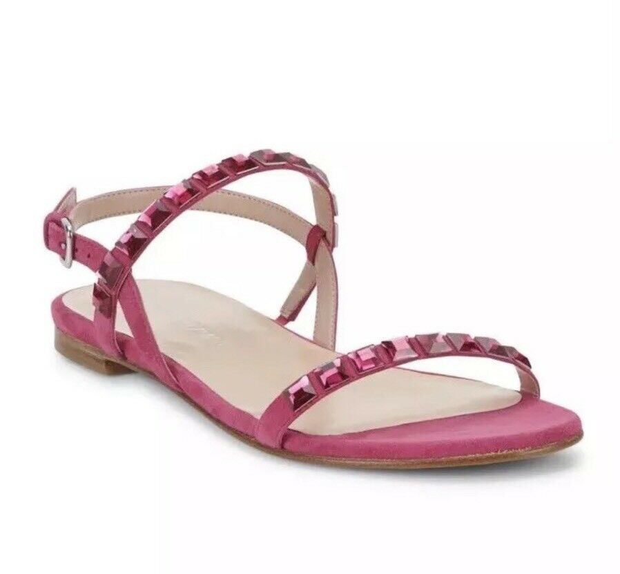Brand New STUART WEITZMAN Trailmix Hot Pink Sandals With Rhinestones (Size  6M)