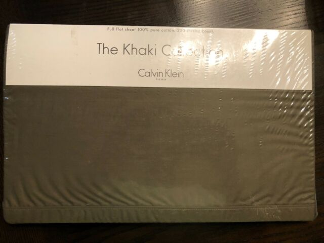 Calvin Klein Khaki Collection Full Fitted Sheet 100 Cotton Solid