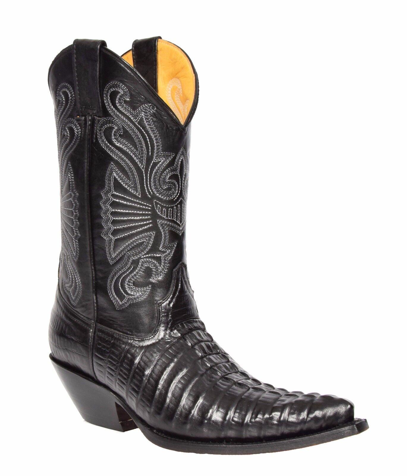 Stivali in da Cowboy da Uomo in Stivali Pelle Coccodrillo Nero Slip On A Punta Designer Stivali Grinders 051677
