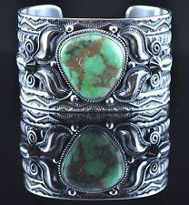 Navajo Sterling Silver Rare Gem Green Damele Turquoise Bracelet By Andy Cadman