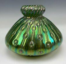 Loetz Style Green Iridescent Studio Blown Bohemian Czech Art Glass Mantle Vase