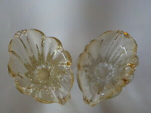 Vintage-heavy-yellow-glass-set-of-two-2-decorative-planters