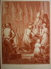 RARE Gravure XVIII SANGUINE HISTOIRE RUSSIE RUSSIA MONNET SACRE IVAN LE TERRIBLE