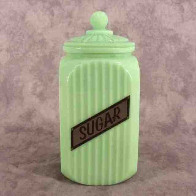 JADEITE GREEN GLASS TALL SQ. SUGAR CANISTER JAR RIBBED ARCH PANEL ~LABEL DESIGN~