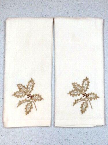 "Kitchen Dish Hand Towels Monogram Golden Poinsettia/"" 25/"" X 15/' Set of 2"