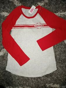 Girls-justice-long-sleeve-baseball-tee-size-8-new-red-heathered-silver