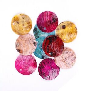 Wholesale 50pcs Mussel Shell Flat Round Coin Charm Beads 18mm Multi-colors Yc