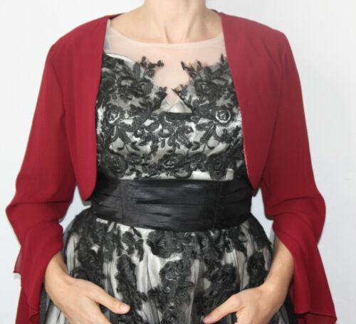 Mariée étole boléro de fliesendem mousseline avec larges manches-Rouge