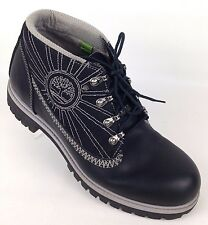 Timberland Mens Black Leather Mesh Four D Ring Chukka Ankle Logo Boots 10 1/2 M