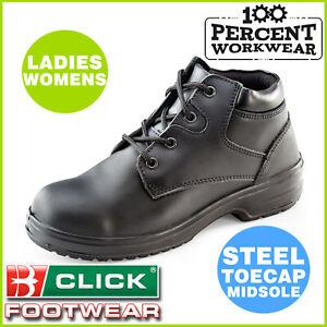 Cliquez sur Femmes Chukka Travail Bottes en Cuir Noir Steel Toe Cap /& Semelle Anti-statique