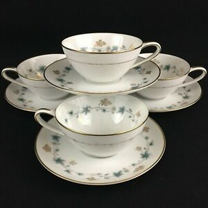 Set-of-4-VTG-Cups-and-Saucers-by-Noritake-Elmdale-Blue-amp-Gold-Leaves-6219-Japan
